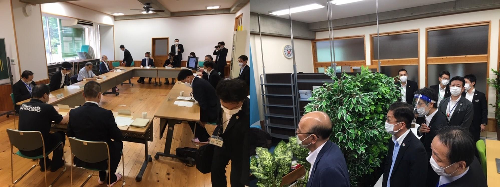 北村誠吾地方創生担当相、浜田高知県知事の両名が、弊社のオフィスへ視察でお越し頂きました